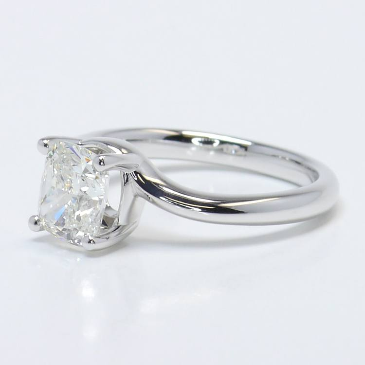 1.40 Carat Cushion Swirl Style Solitaire Diamond Engagement Ring angle 2