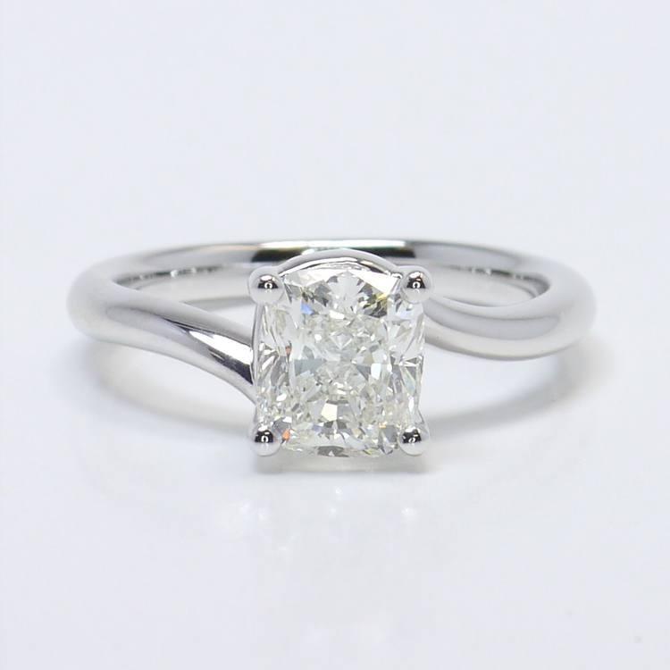 1.40 Carat Cushion Swirl Style Solitaire Diamond Engagement Ring