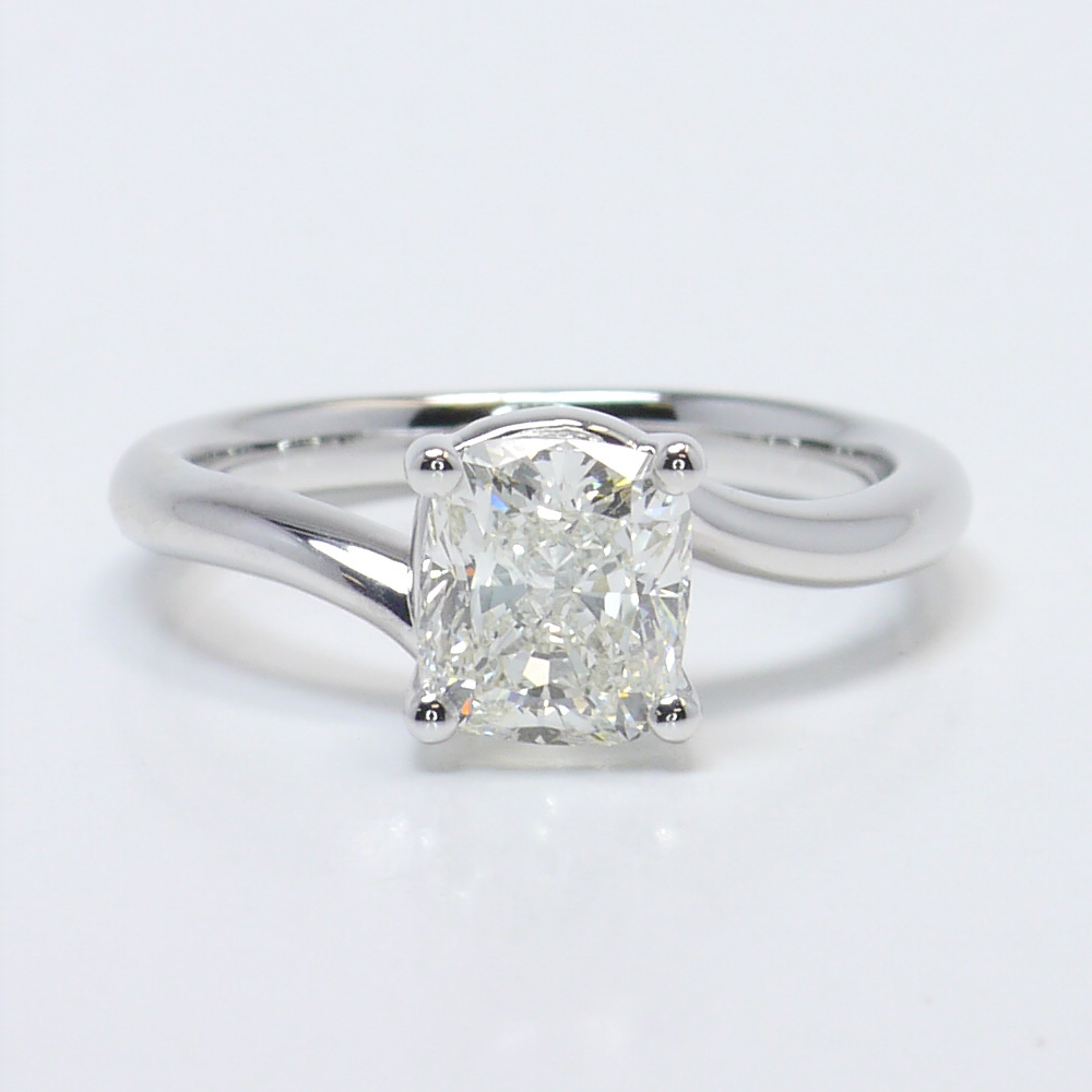 Swirl Style Solitaire Engagement Ring