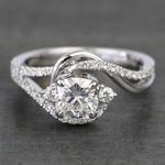 Swirling Split Shank Cushion Moissanite Engagement Ring - small