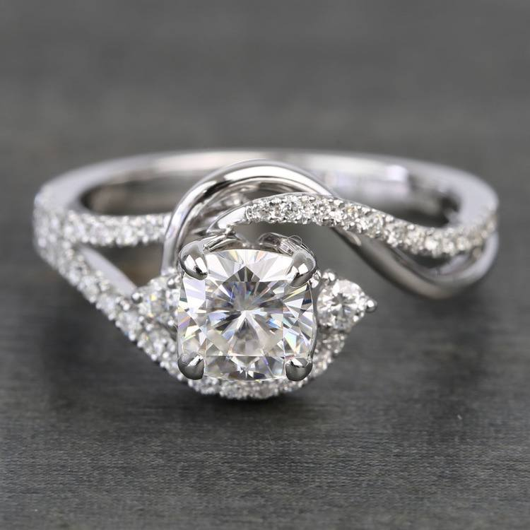 Swirling Split Shank Cushion Moissanite Engagement Ring