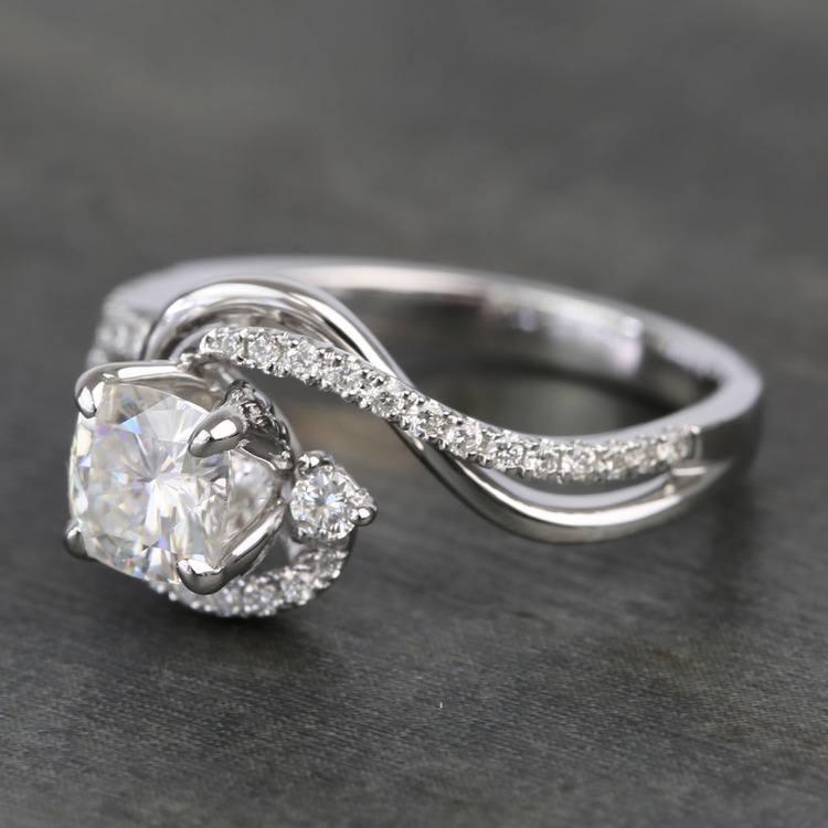 Swirling Split Shank Cushion Moissanite Engagement Ring angle 2