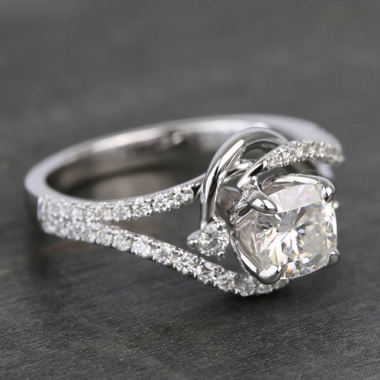 Swirling Split Shank Cushion Moissanite Engagement Ring angle 3