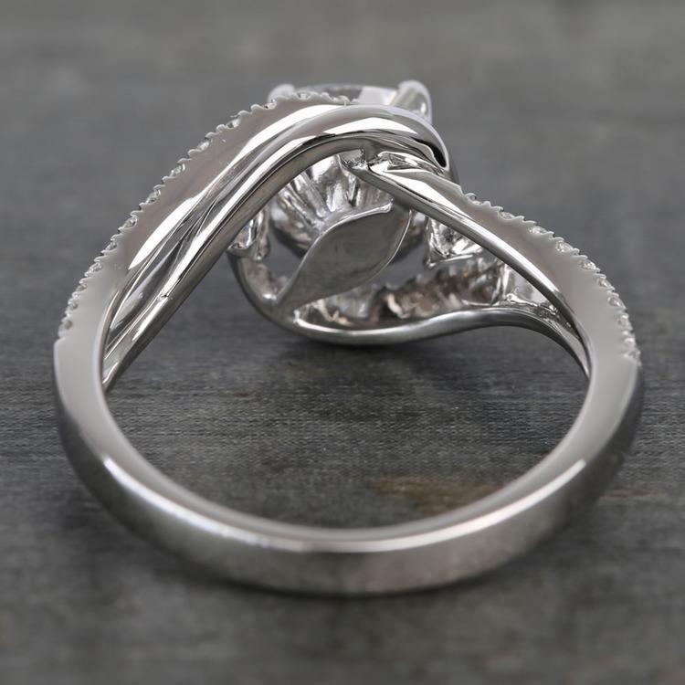 Swirling Split Shank Cushion Moissanite Engagement Ring angle 4