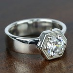 Beaded Hexagon Round Solitaire Diamond Men's Engagement Ring - small angle 3