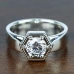 Beaded Hexagon Round Solitaire Diamond Men's Engagement Ring - small