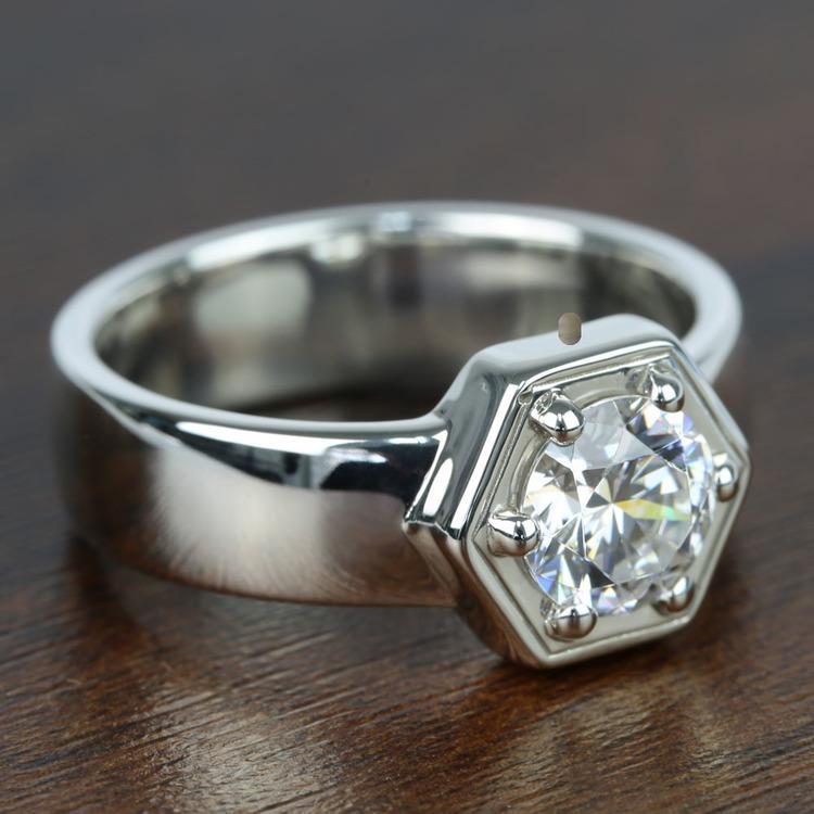 Beaded Hexagon Round Solitaire Diamond Men's Engagement Ring angle 3