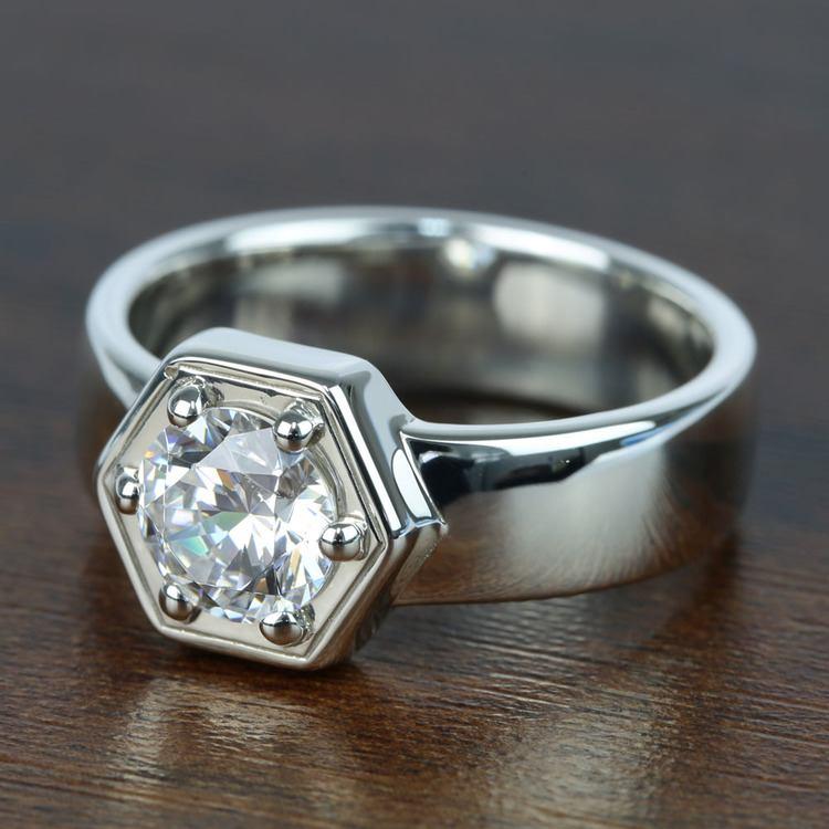 Beaded Hexagon Round Solitaire Diamond Men's Engagement Ring angle 2