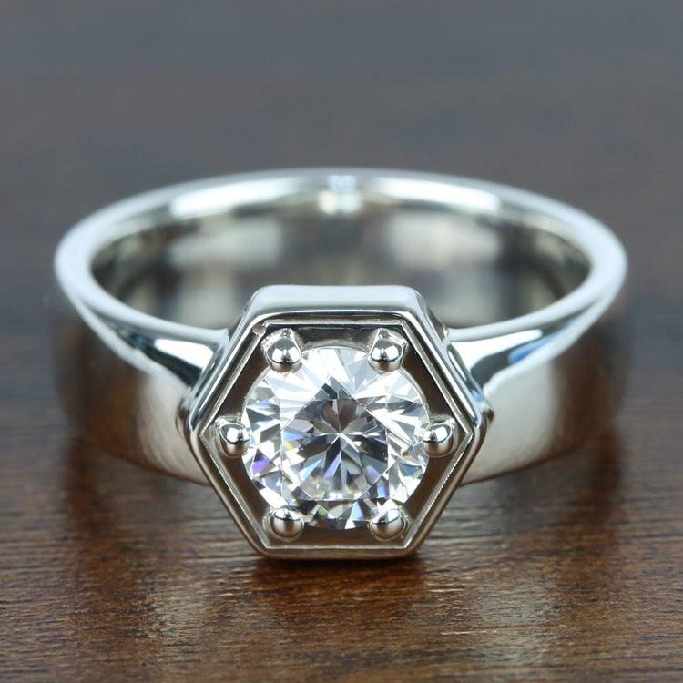 Beaded Hexagon Round Solitaire Diamond Men's Engagement Ring