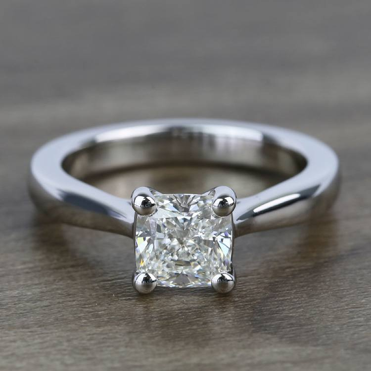 Taper 1.23 Carat Cushion Solitaire Diamond Engagement Ring