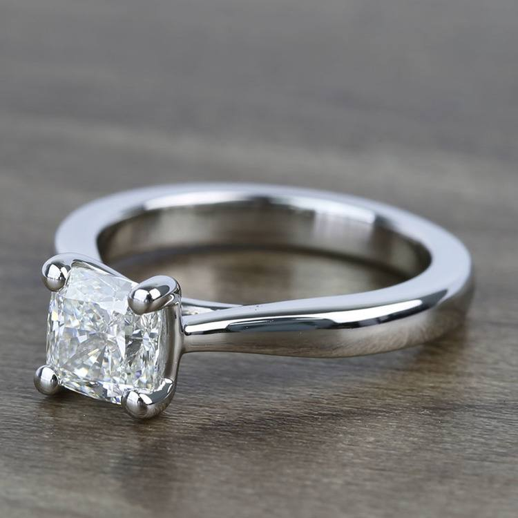 Taper 1.23 Carat Cushion Solitaire Diamond Engagement Ring angle 2