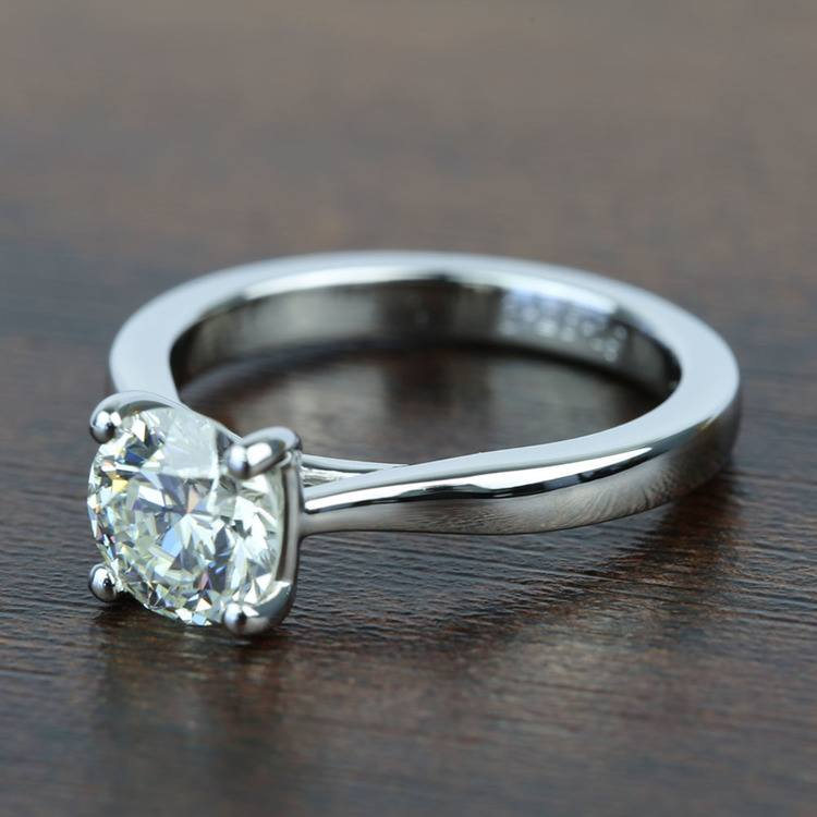 Taper 1.31 Carat Round Solitaire Diamond Engagement Ring angle 2
