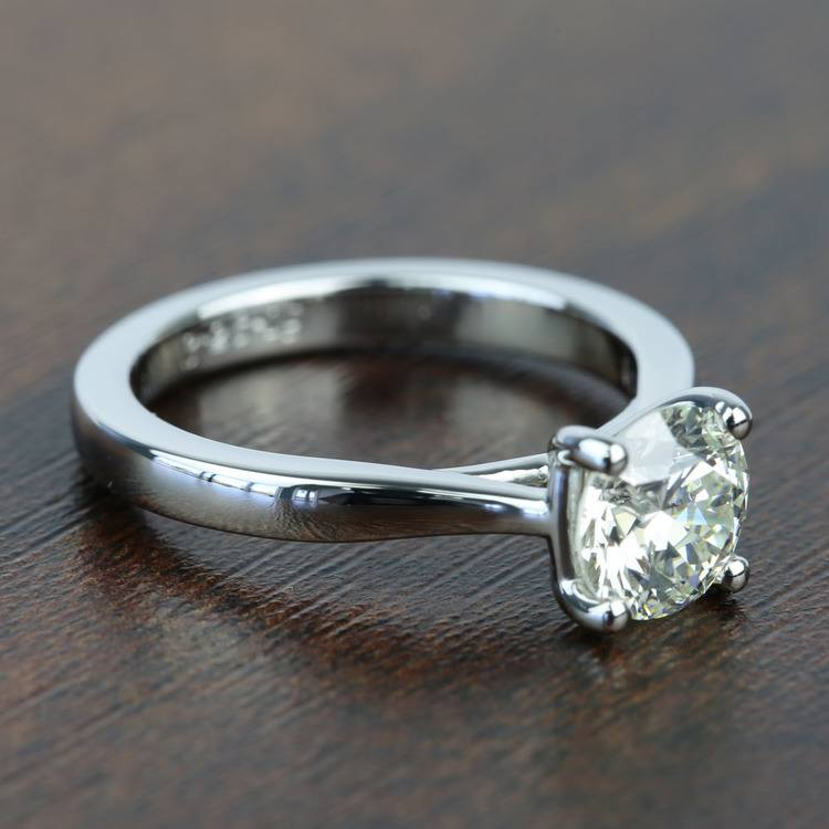 Taper 1.31 Carat Round Solitaire Diamond Engagement Ring angle 3