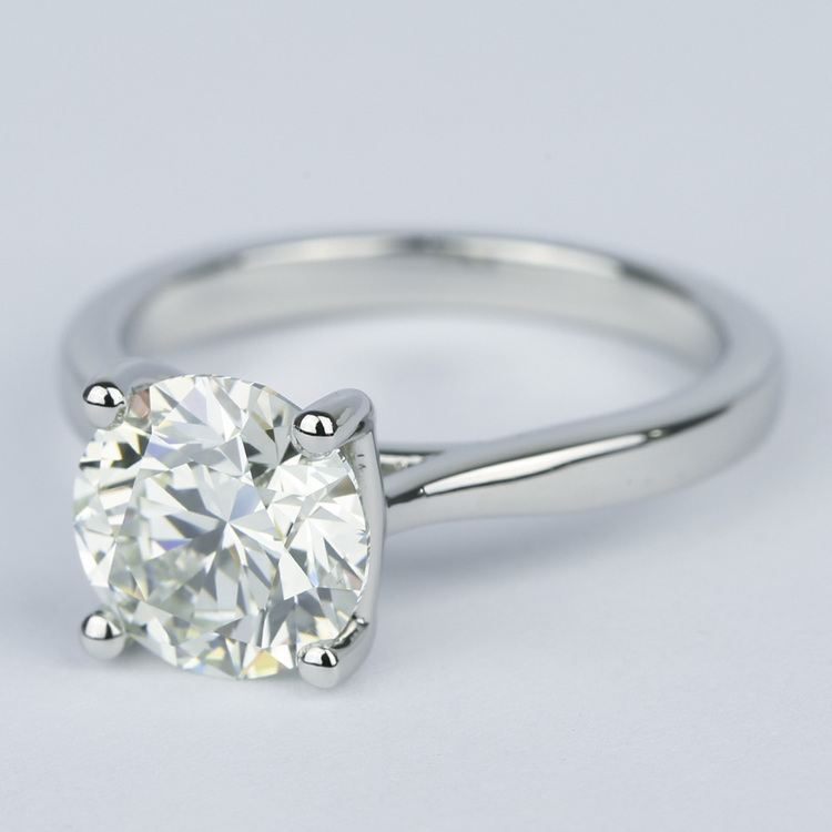 3 Carat Round Diamond Solitaire Engagement Ring angle 2