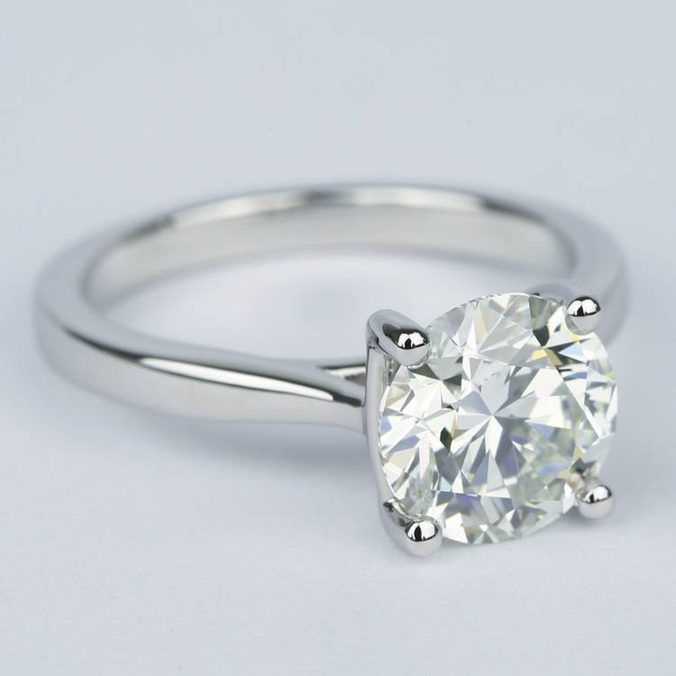 3 Carat Round Diamond Solitaire Engagement Ring angle 3