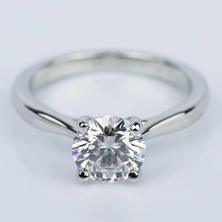 Taper Solitaire Diamond Engagement Ring in Platinum (1.57 ct.)