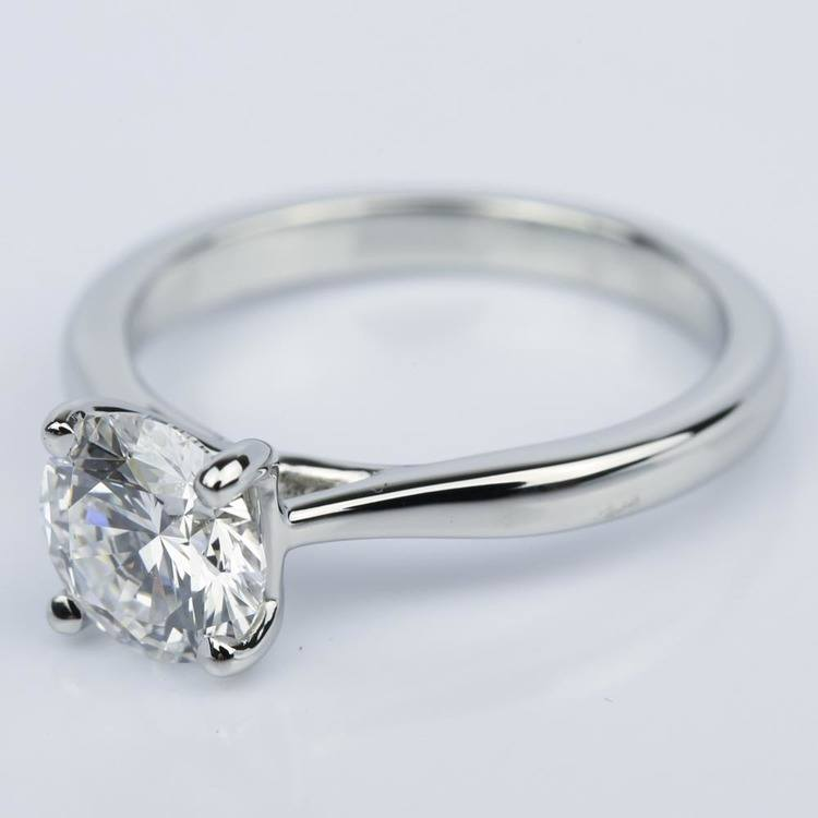 Taper Solitaire Diamond Engagement Ring in Platinum (1.57 ct.) angle 2