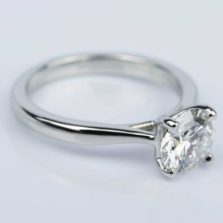 Taper Solitaire Diamond Engagement Ring in Platinum (1.57 ct.) angle 3