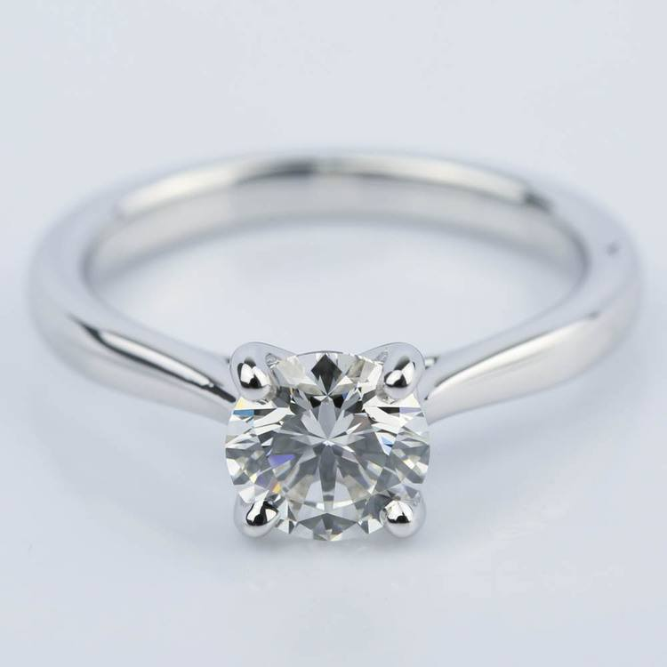 Taper Solitaire Round Cut Diamond Engagement Ring (1.05 ct.)