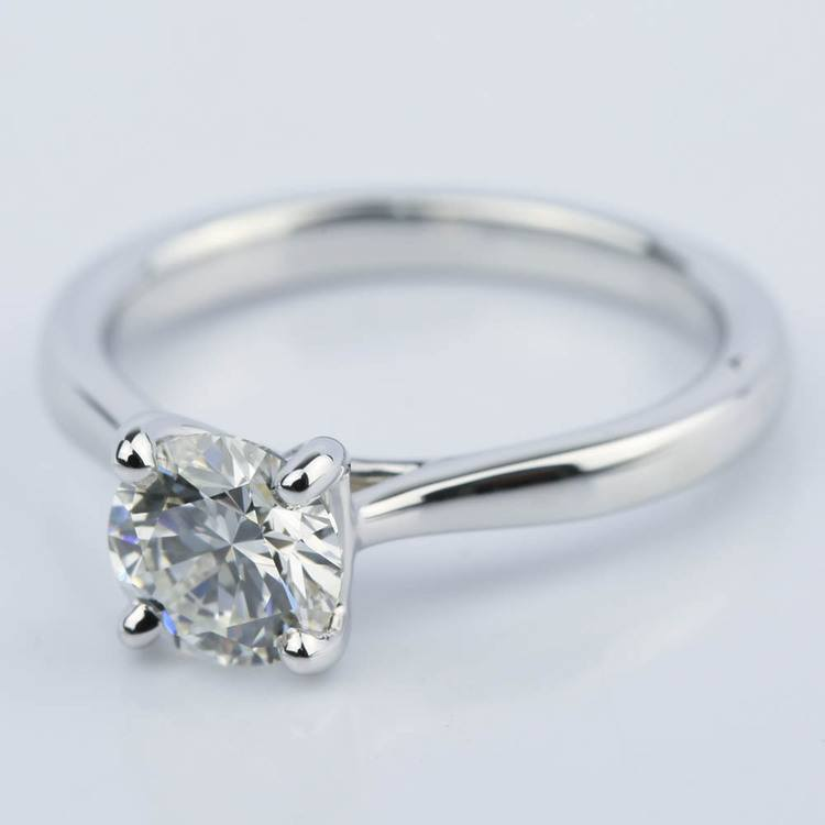 Taper Solitaire Round Cut Diamond Engagement Ring (1.05 ct.) angle 2