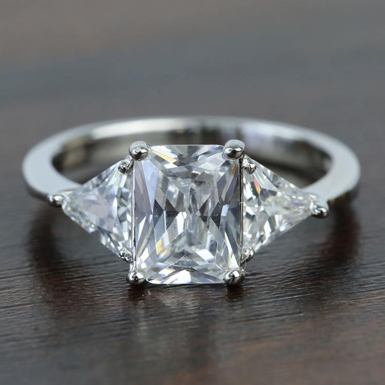 Tapered 2.21 Carat Radiant & Trillion Diamond Engagement Ring