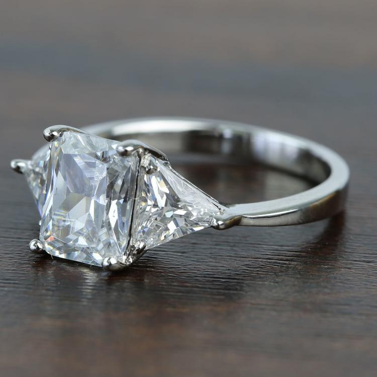 Tapered 2.21 Carat Radiant & Trillion Diamond Engagement Ring angle 2