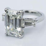 Tapered Baguette Engagement Ring with Emerald Diamond (8 Carat) - small angle 2