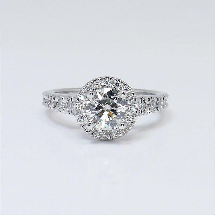0.90 Carat Custom Surprise Round Diamond Halo Engagement Ring