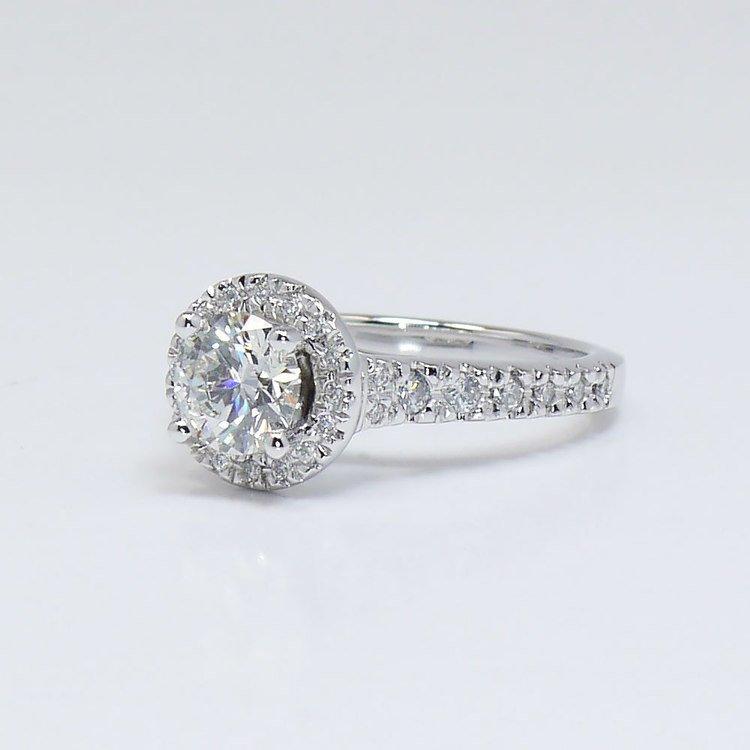 0.90 Carat Custom Surprise Round Diamond Halo Engagement Ring  angle 2