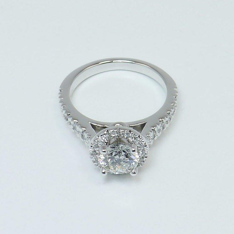 0.90 Carat Custom Surprise Round Diamond Halo Engagement Ring  angle 4