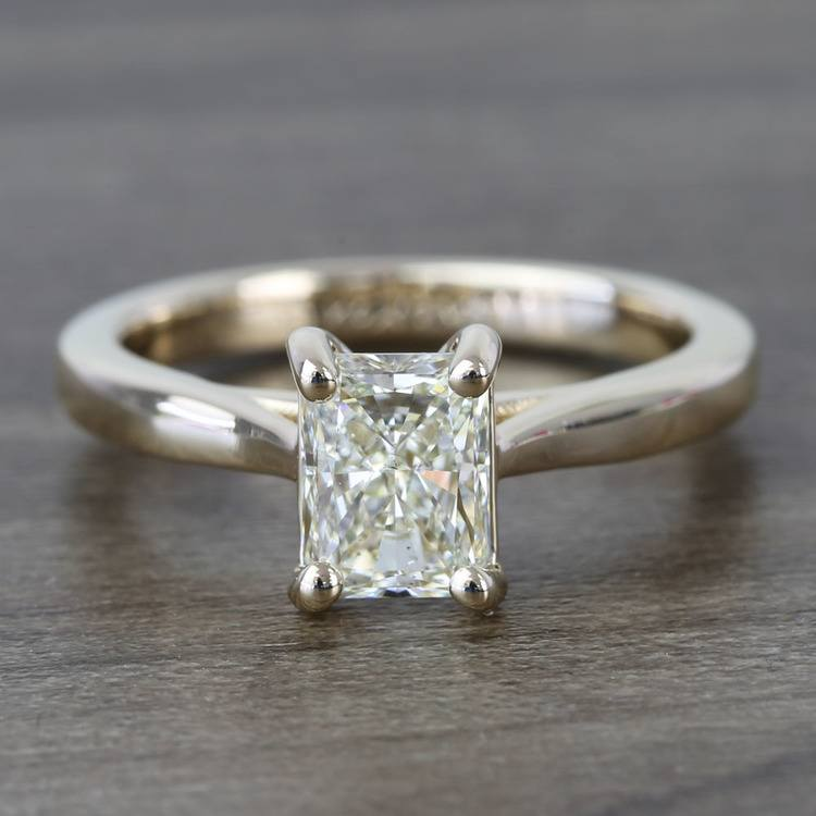 Tapered Solitaire 1.40 Carat Radiant Diamond Engagement Ring