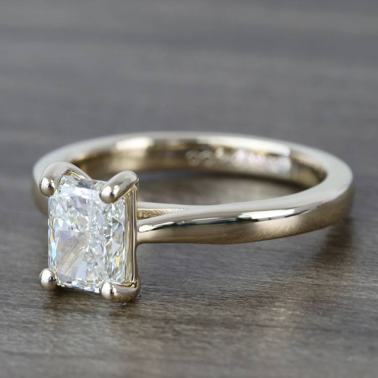 Tapered Solitaire 1.40 Carat Radiant Diamond Engagement Ring angle 2