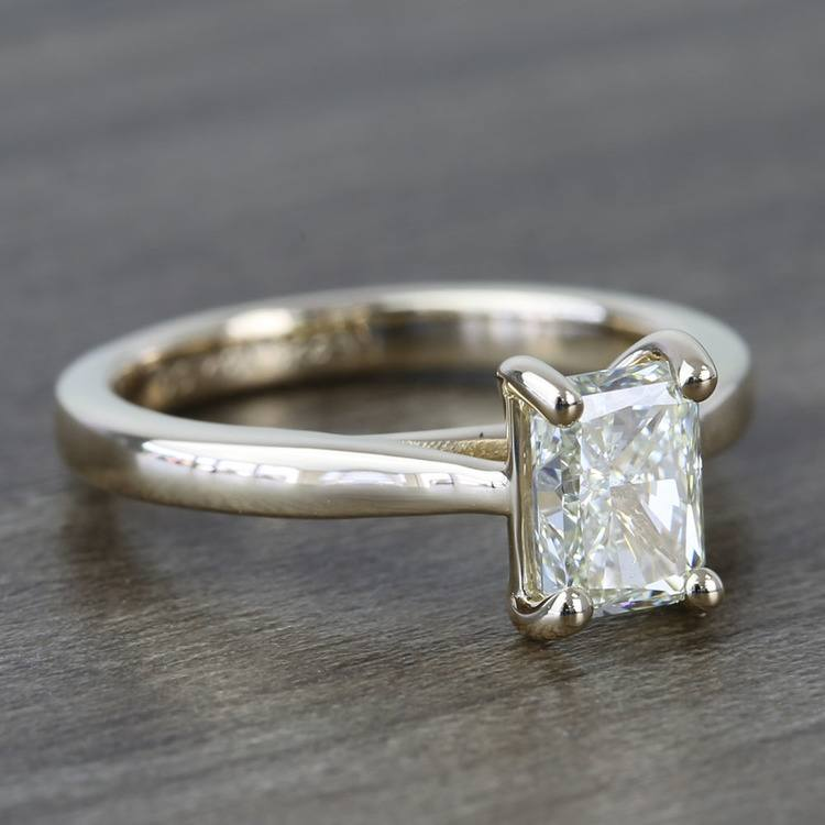Tapered Solitaire 1.40 Carat Radiant Diamond Engagement Ring angle 3