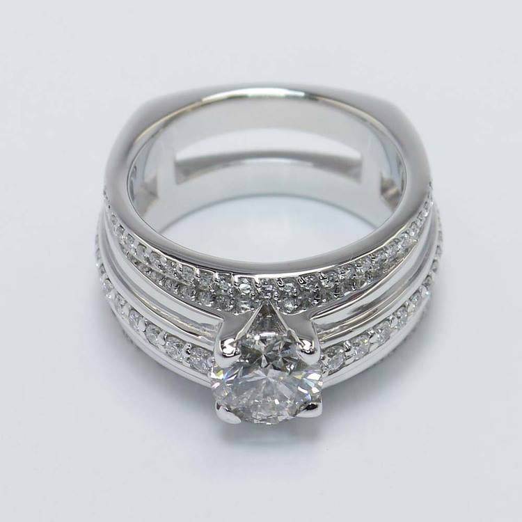1.22 Carat Round Triple Row Pave Diamond Ring angle 2