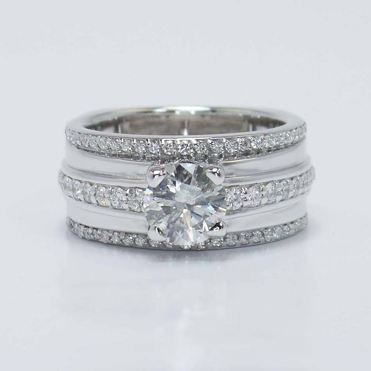 1.22 Carat Round Triple Row Pave Diamond Ring