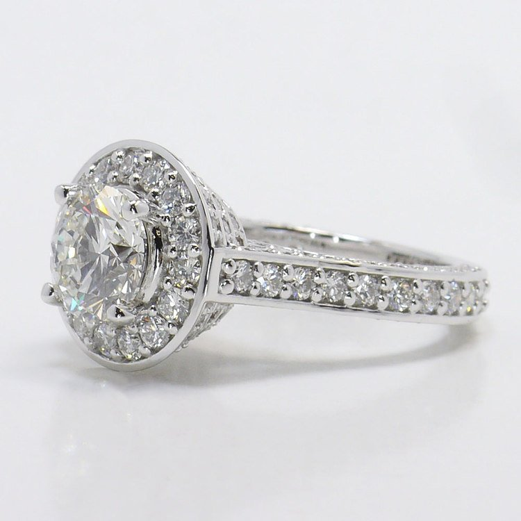 Three Row Pave Halo Diamond Ring with Diamond Encrusted Gallery angle 2
