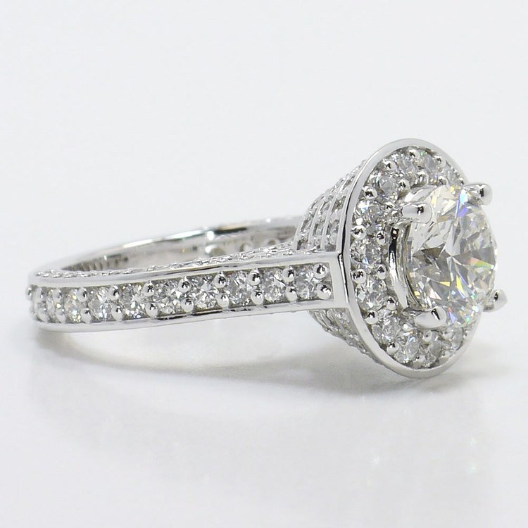 Three Row Pave Halo Diamond Ring with Diamond Encrusted Gallery angle 3