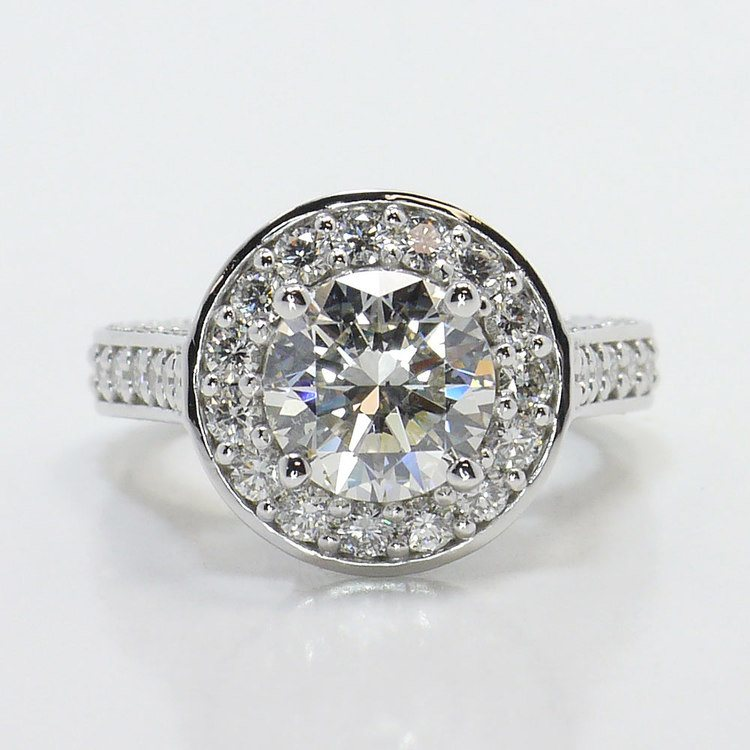 Three Row Pave Halo Diamond Ring with Diamond Encrusted Gallery