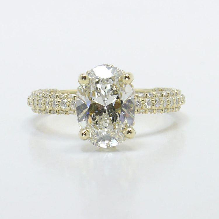 Triple Pave 2 Carat Oval Diamond Engagement Ring