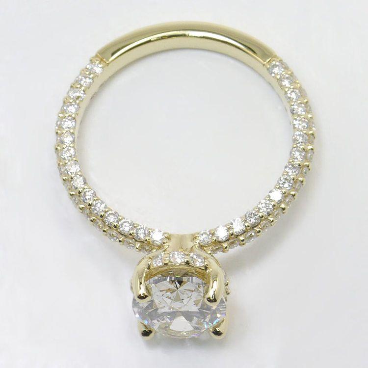 Triple Pave 2 Carat Oval Diamond Engagement Ring angle 4
