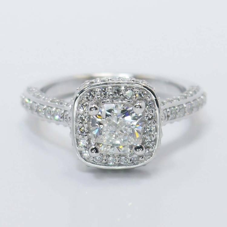 Three-Sided Cushion Diamond Halo Ring (1 Carat)