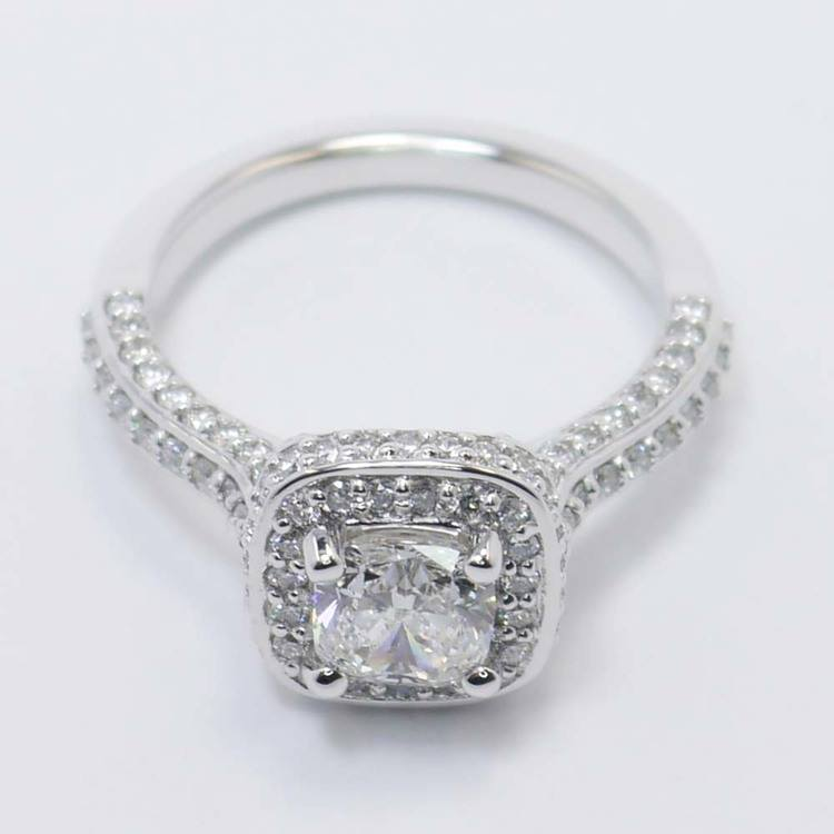Three-Sided Cushion Diamond Halo Ring (1 Carat) angle 2