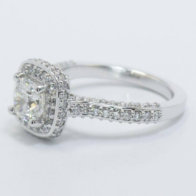 Three-Sided Cushion Diamond Halo Ring (1 Carat) angle 3