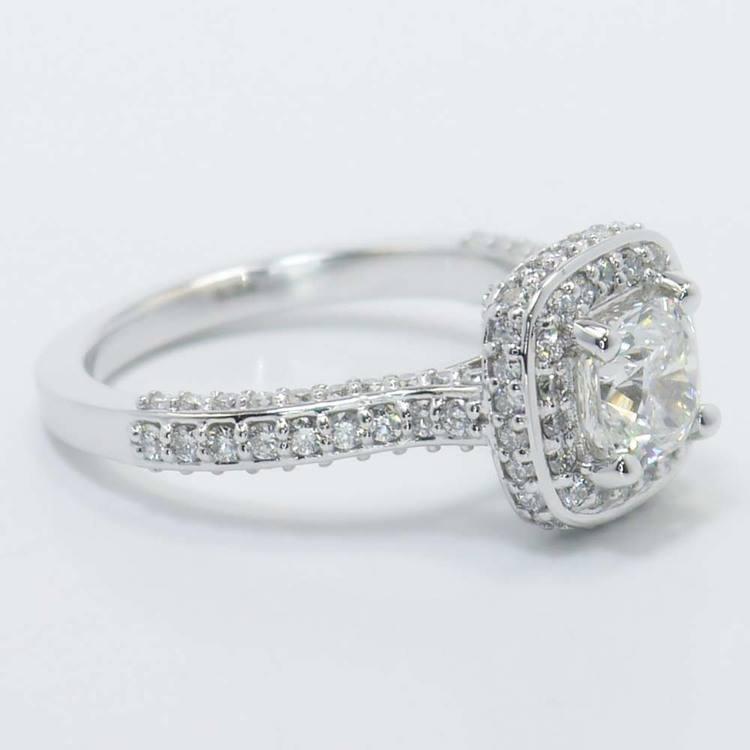 Three-Sided Cushion Diamond Halo Ring (1 Carat) angle 4