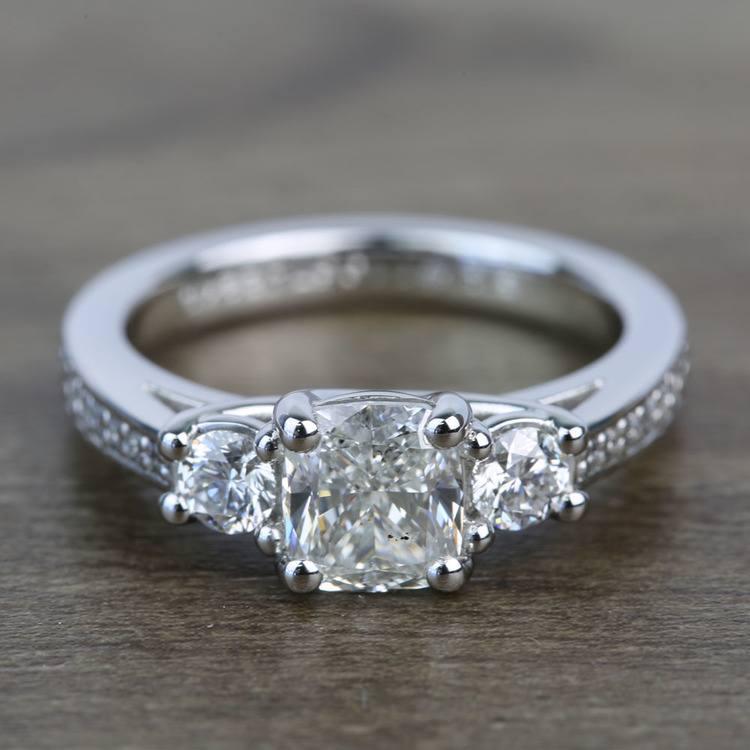 Three Stone 1.51 Carat Cushion Trellis Diamond Engagement Ring