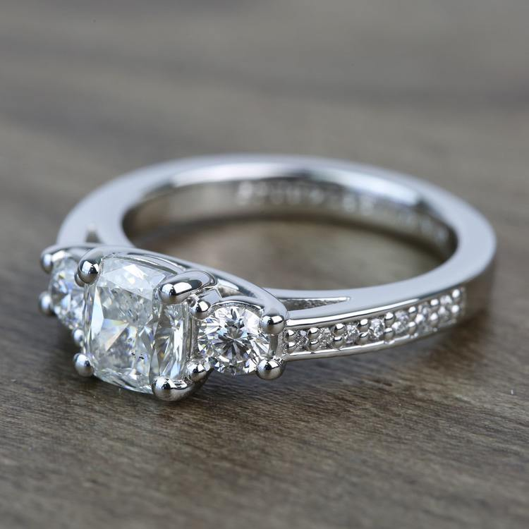 Three Stone 1.51 Carat Cushion Trellis Diamond Engagement Ring angle 2