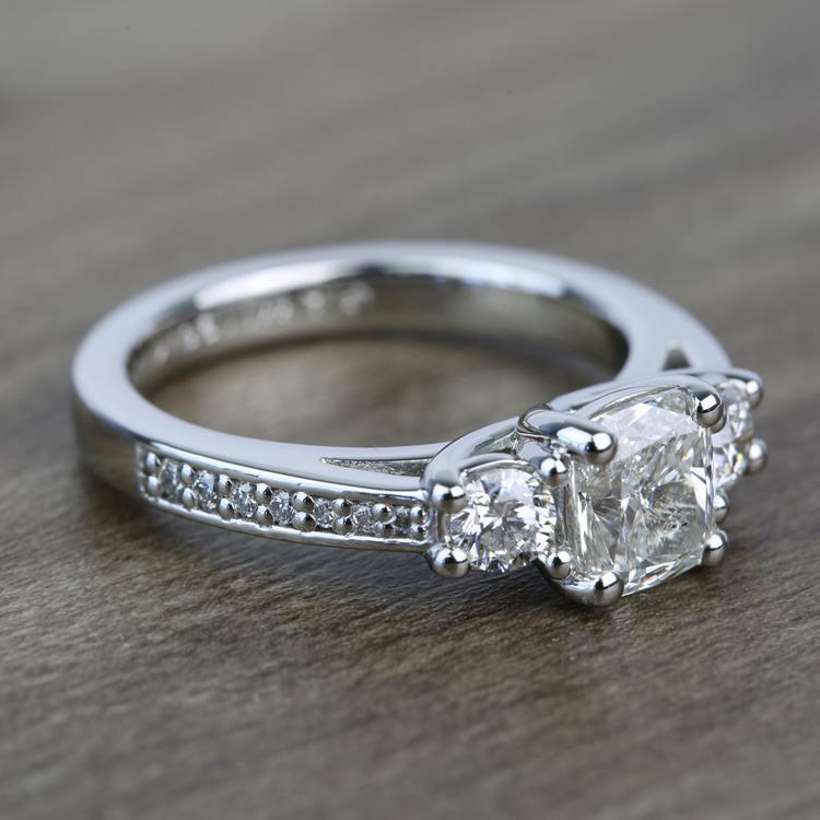 Three Stone 1.51 Carat Cushion Trellis Diamond Engagement Ring angle 3