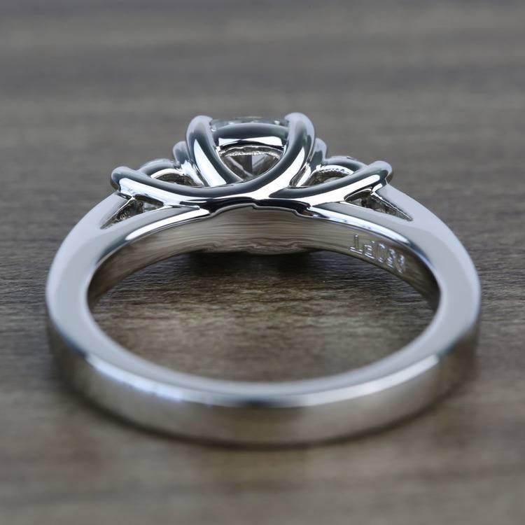 Three Stone 1.51 Carat Cushion Trellis Diamond Engagement Ring angle 4
