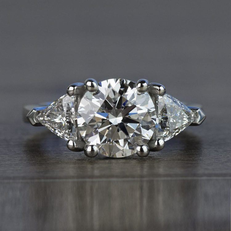 Three-Stone 2.25 Carat Round and Trillion Diamond Engagement Ring
