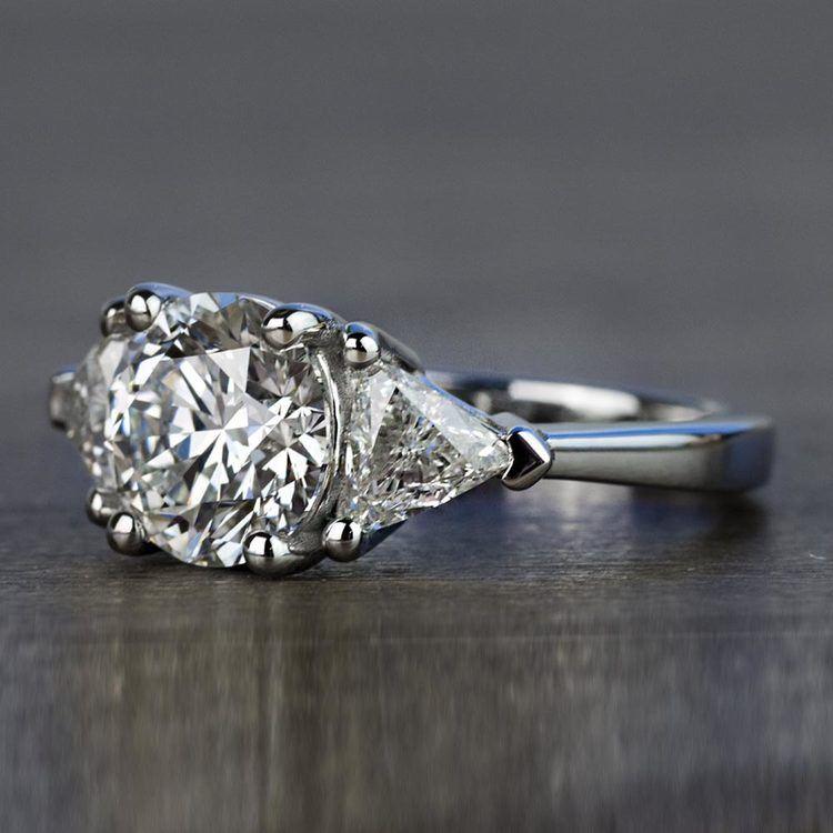 Three-Stone 2.25 Carat Round and Trillion Diamond Engagement Ring angle 2